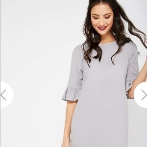 NWT Miss Selfridge gray ruffle sleeved dress